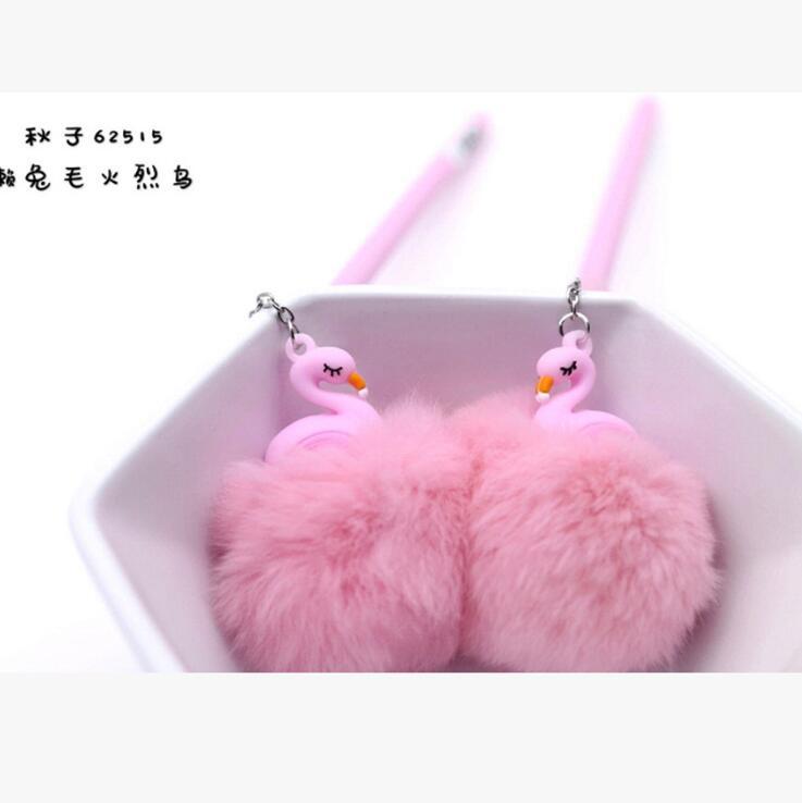 Flamingo Plush Ball Pendant Gel Pen 0.5mm Cartoon Ink Pens School Office Supply