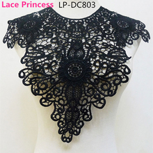 LP-DC803 Black polyester Embroidered venise lace collar lace trim clothing Accessories collar flower 340mm*460MM