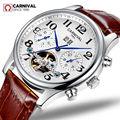 2019 schweiz Karneval Saphir Uhr männer Luxus Marke voller stahl Automatische mechanische männer Uhren echtes Leder uhr reloj
