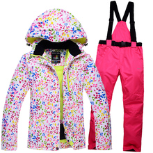 High quality thickening women ski suit set women's skiing clothing winter outdoor sports ski jacket+ski pants windproof warm