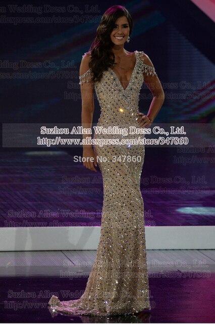 Мисс Колумбия 2016 Ежегодный Глобальный Полина Вега Dieppa вечерние Бусы BlingBling Знаменитости Платье Красного Ковра 2014