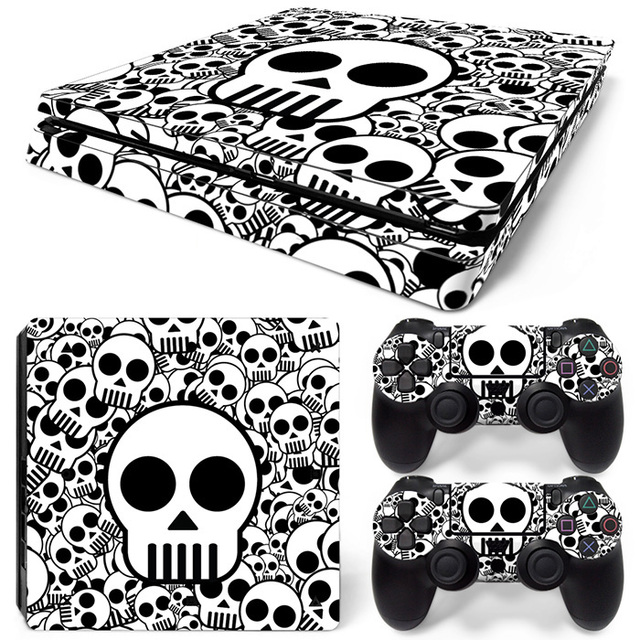 White skull decal skins for ps 4 slim for playstation4 s vinyl sticker cover case