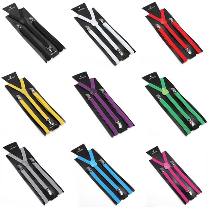 Slim1.5cm Fashion Best Sale 27 Colors Mix Suspenders Unisex Clip-on Elastic Braces Slim Suspender  Wholesale & Retail