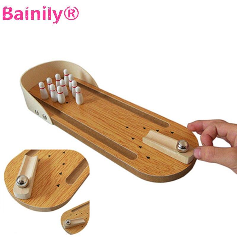 [Bainily] анти-стресс Развлечения Мини рабочего Боулинг деревянный Игровой набор Семья забавная игрушка Забавный партия Игрушечные лошадки дл...