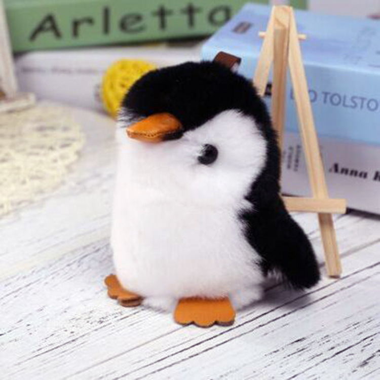 Kawaii Penguin Keychain Rabbit Fur Doll Women Bag Car Keyring Plush Toys for Children Birthday Gift Stuffed Animals Kids Toys 13 inch kawaii plush soft stuffed animals baby kids toys for girls children birthday christmas gift angela rabbit metoo doll