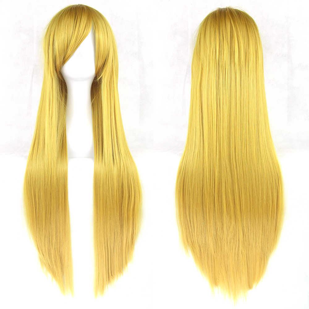 Soowee 80 سنتيمتر طويل ارتفاع درجة الحرارة الألياف النساء الأزرق شعر مستعار بورجوندي رمادي مستقيم شعر حفلة تأثيري الباروكات كاذبة خصلات الشعر المستعار-أنثى