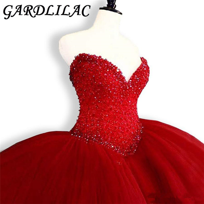 Gardlilac Real Red Puffy Quinceanera Dresses 2018 Luxury Beads Bodice Sweet 16 Ball Gown Bridal Dress
