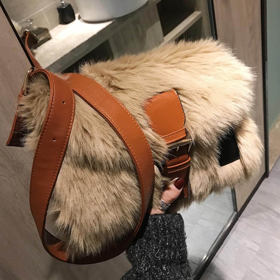 2019 Winter Fashion New Sweet Girl Square Bag High Quality Soft Plush Women's Designer Handbag Casual Shoulder Messenger Bag