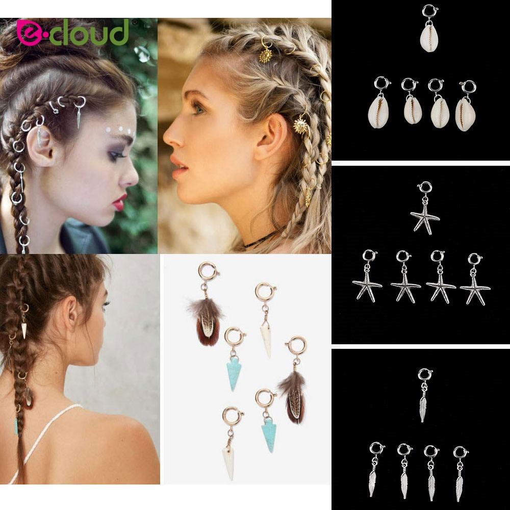 5Pcs Hair Braid Jewellery Rings Loops Shells Star Feather Accessories Dreadlocks