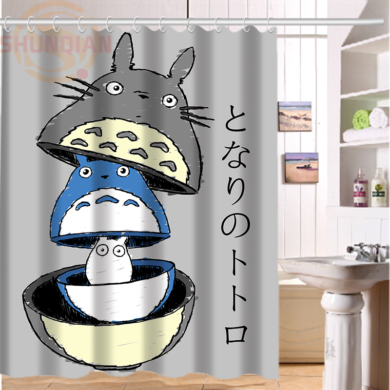 New All Studio Ghibli Character Totoro Custom Shower Curtain Bathroom Decor Free Shipping 36x72 48x72 60x72 66x72 In Curtains From Home Garden