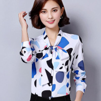 Bow Decor Lady Printed Chiffon Blouses Plus Size S 3XL Candy Colors Long Sleeve Women OL