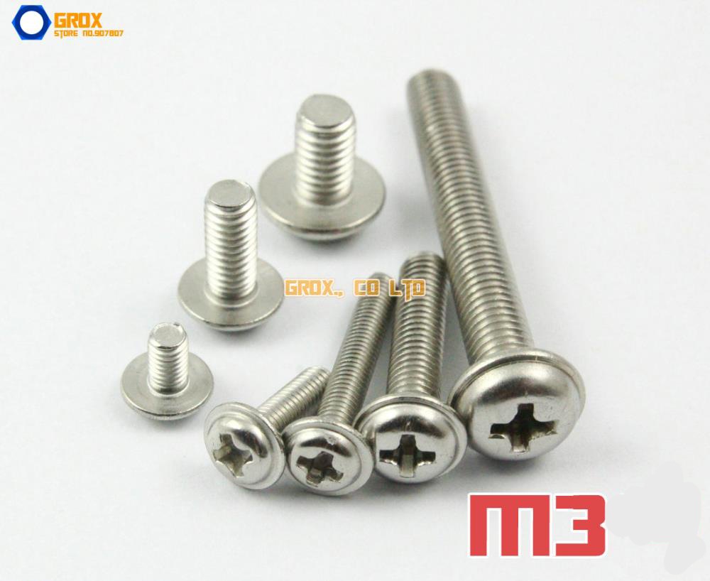 M3 304 Stainless Steel Phillips Pan Washer Head Machine Screw 500pcs lot din7985 stainless steel 304 m3 phillips pan round head machine screw kit m3 5 6 8 10 12