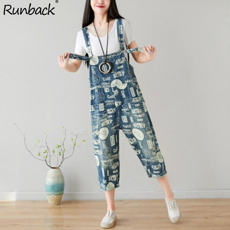 Runback été Denim Combinaison Combinaison Femme Jeans coton lâche grande taille salopette pour femmes cassé combinaisons pour femmes 2019