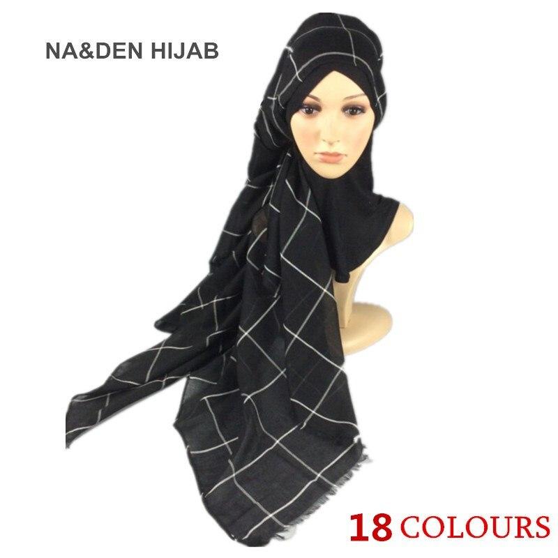 Hot sale fashion solid grid scarf scarves shawls bandana pashmina echarpe women muslim hijab wraps scarf