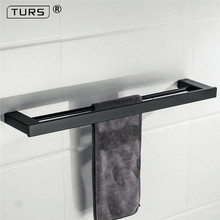 New Electroplated SUS 304 Stainless Steel Single Towel Bar Square Square Black Towel Rack Bathroom Wall Mounted Towel Holder