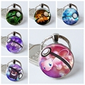 Silver Plated Charmander Pokemon Pokeball Key Chains Fashion Game Round Glass Dome Pendant Keychain Key Rings Keyring Gift Go