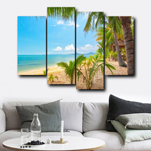 Laeacco 4 Panel Sea Tropical Palm Tree Posters Prints Wall Art Canvas Calligraphy Painting Nordic Home Living Room Decoration
