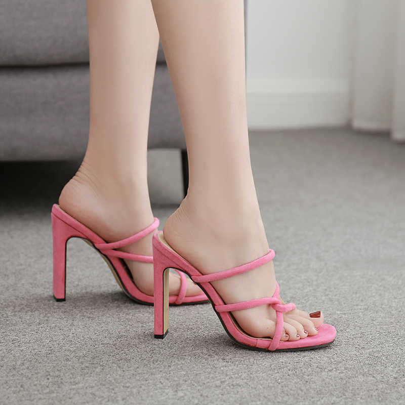 Kadınlar için plaj terlikleri yeşil Katır Yüksek Topuk Terlik Ayakkabı Peep Toe Sandalet Moda Bayanlar Seksi Parti Terlik YMA851