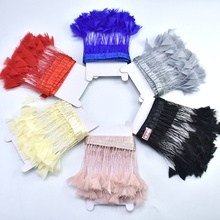 2Meters/Lot Goose Feather Trims for dress wedding Feathers Fringe DIY White Pheasant Crafts decoration piuma Finiture