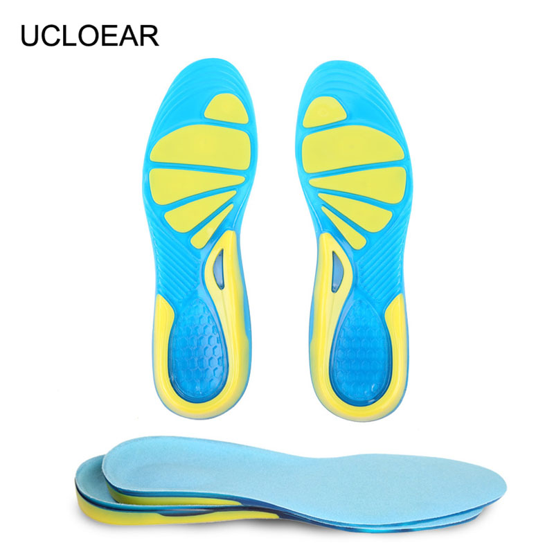 Unisex Free Size Sport Gel Insoles Thickening Shock Absorption Non-Slip Running Silicone Insole Soft Shoes Pad Men Women XD-016