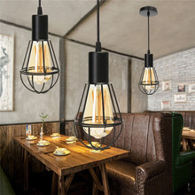 Lampshade wire promotion shop for promotional lampshade wire on 1m wire length e27 lamp base retro vintage industrial metal cage hanging ceiling pendant light holder lampshade ac110v 220v greentooth Choice Image