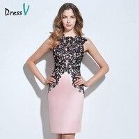 Платье светло розового цвета с аппликацией, коктейльное платье с глубоким вырезом и пуговицами до колена, кружевное вечернее платье, коктей