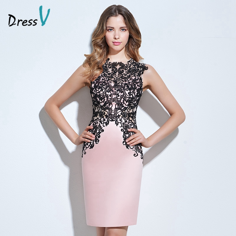 Dressv light pink appliques cocktail dress scoop neck sheath button knee length lace formal party dress column cocktail dress