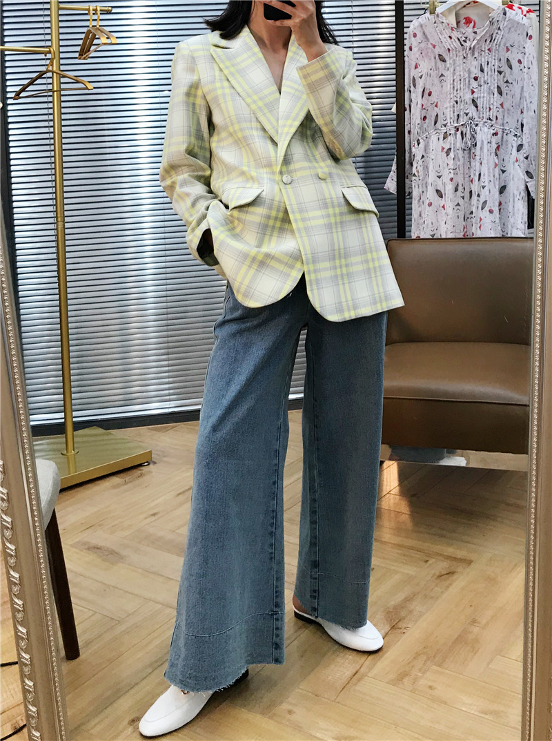 Wool Suit Woman 39 s Jacket with Large Checked Tone Profile Notched Double Breasted Plaid Women Blazers and Jackets 2019 in Blazers from Women 39 s Clothing