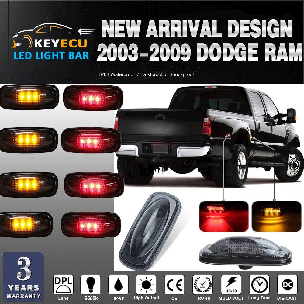 KEYECU 4pcs RED+4pcs Amber Smoked Lens LED Fender Bed Side Marker Lights Set For Dodge RAM 2500 3500 (Will Fit Mega Cab 3500)
