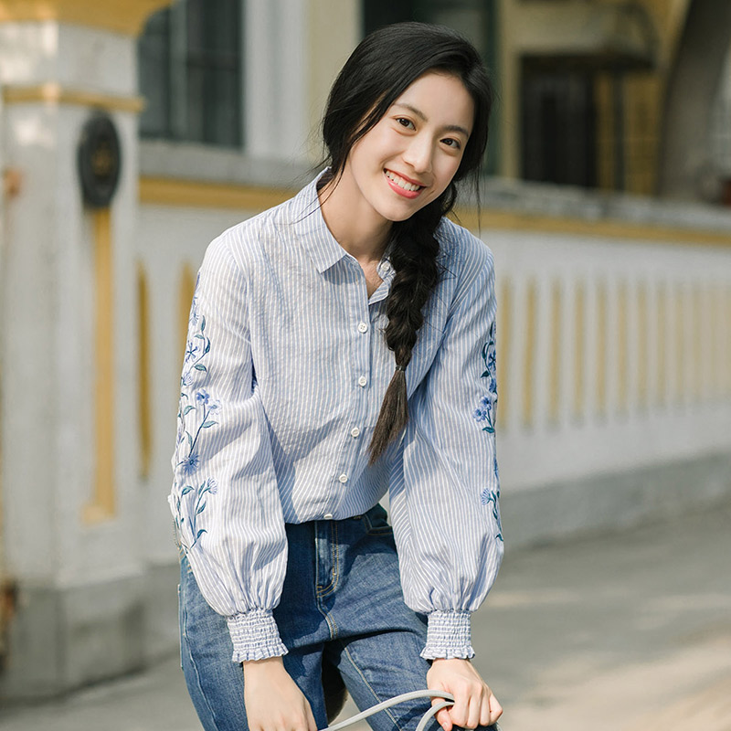 Image 3 - INMAN Spring Autumn Blouse Turn Down Collar Embroidery Stripped Loose Style All Matched Women Tops BlouseBlouses & Shirts   -
