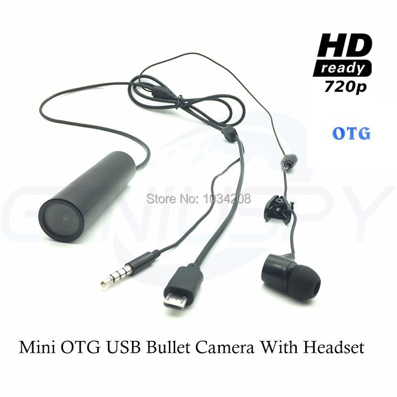 720 P étanche OTG corps Android Smarphone équipement USB caméra casque Mini caméra avec écouteurs pour casque et Police