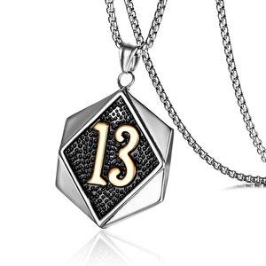 Байкер счастливый номер 13 бирка кулон ожерелье с 24