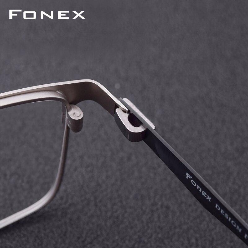 Gafas graduadas de aleación de titanio hombres ultraligero cuadrado miopía prescripción gafas Metal marco óptico sin tornillos gafas - 3