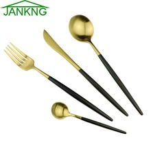 JANKNG 24 Pieces Black Handle Golden Dinnerware Set 18/10 Stainless Steel Cutlery Set Matte Knife Fork Silverware Dinner Set