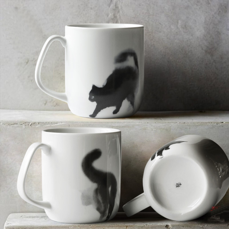Tasse en céramique d'art de chat abstrait Unique tasse de café en céramique de comportement de chat bleu noir Simple