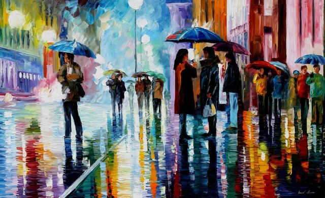 Moderne Kunst Bilder Auf Leinwand ~ Malerei für verkauf bunte ölgemälde leinwand bushaltestelle unter