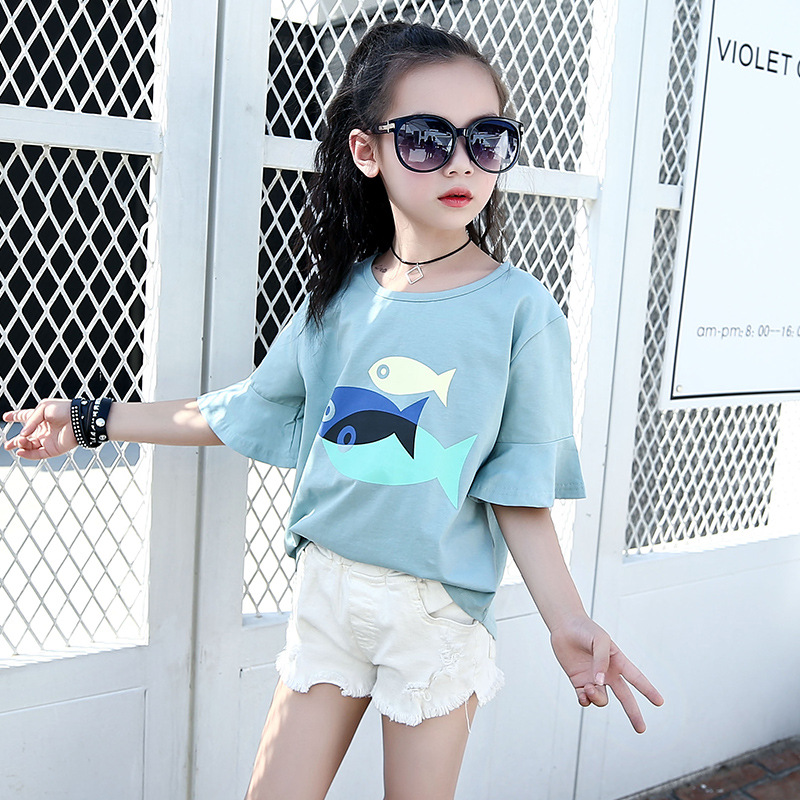 f1e951ebb47 Magazine Style Summer Kids Girls Cartoon Fish Casual Cute Half Sleeve Lotus Cuffs  T shirt Tee Kids Girls White Blue Pink Tops-in Tees from Mother   Kids on  ...