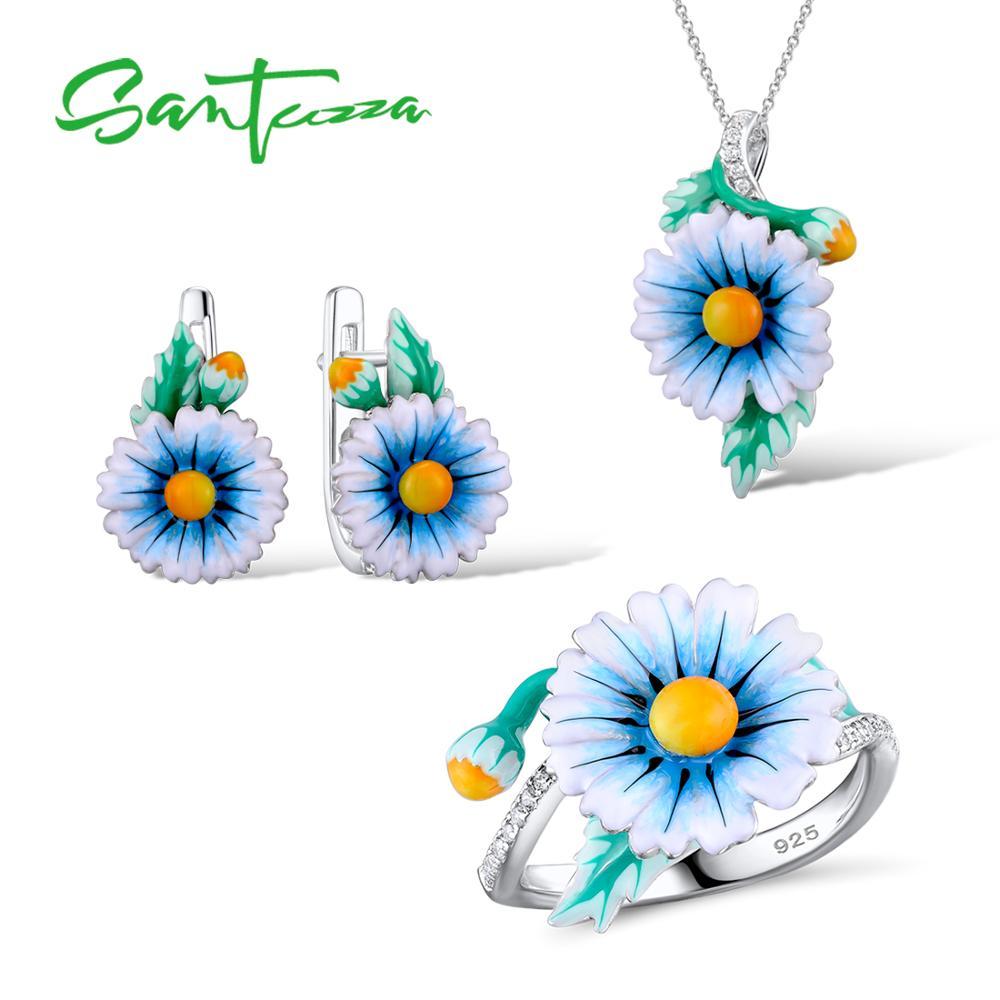 SANTUZZA Jewelry Set HANDMADE Enamel Blue Flower CZ Stones Ring Earrings Pendent Necklace 925 Sterling Silver Women Jewelry Set