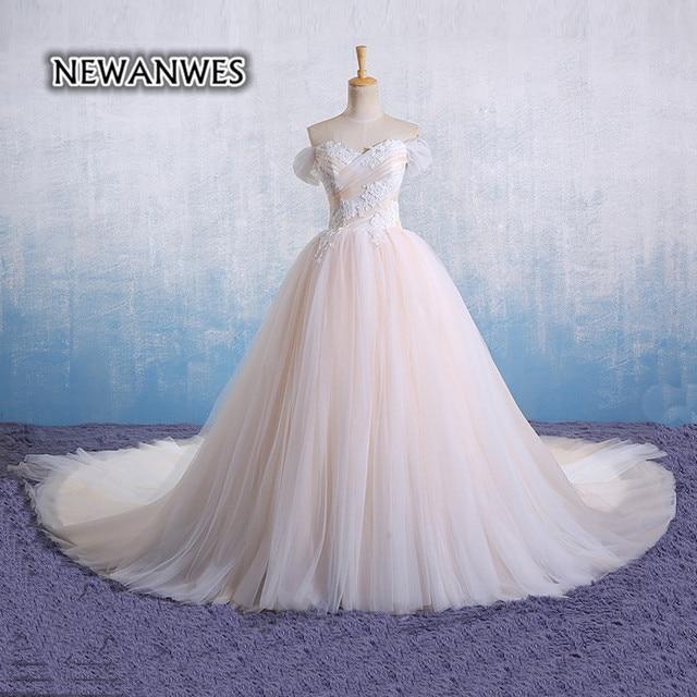 Luxus Brautkleid Champagner und Weiß Weiche Tulle Spitze ...