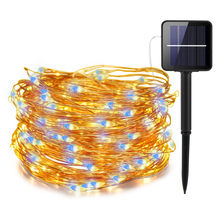 Cadena impermeable de 200 Luces Solares led con controlador RF, tira de luces led para exteriores y vacaciones, decoración de boda y fiesta de navidad