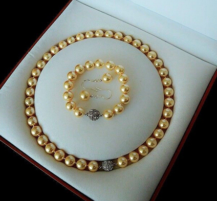 12695 Rare 10mm Real South Sea Golden Shell Pearl Necklace Bracelet Earrings Set AAA