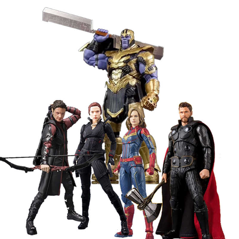 2019 Avengers 4 Endgame Marvel SHF Thanos Thor Captain Marvel Janda Hitam Hawkeye Action Figure Model Mainan Boneka Hadiah