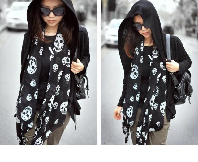 Summer Beach Long Shawl Fahion Skull Print Chiffon Silk Scarf Mulim Hijab For Man Women Soft Thin 50*150cm