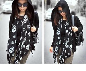 Summer Beach Long Shawl Fahion Skull Print Chiffon Silk Scarf Mulim Hijab For Man Women Soft Thin 50*150cm(China)
