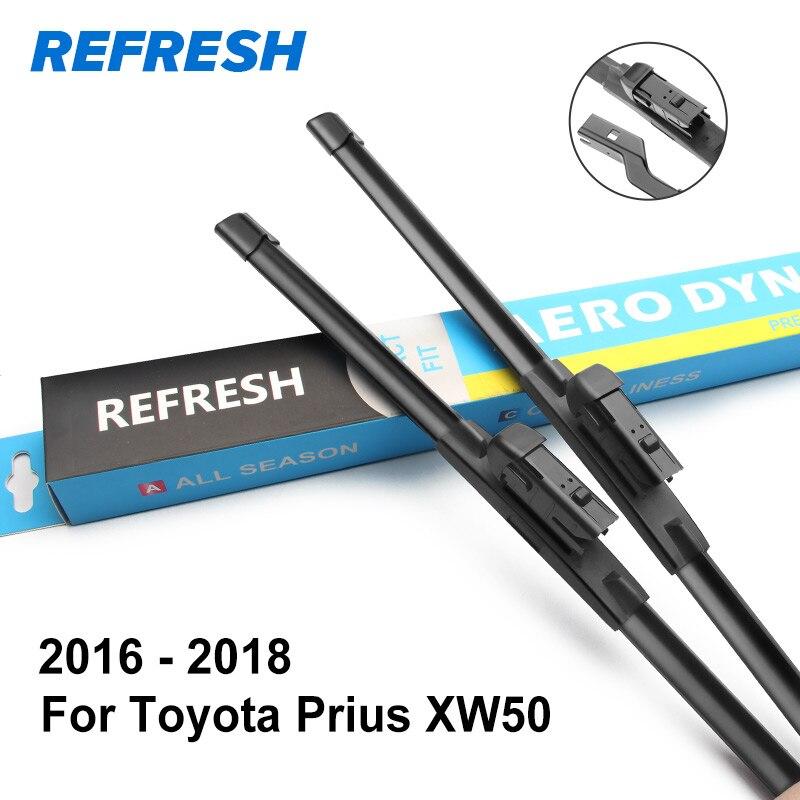 REFRESH Щетки стеклоочистителя для Toyota Prius Fit Hook Arms / кнопочные рычаги Модель Год с 1997 по год - Цвет: 2016 - 2018 ( XW50 )