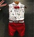 Дети Наряды Мальчиков Рубашки Устанавливает 2016 Летние Комплекты Белый/Красный Малыш Мальчик Шорты Костюм Горячие Продажи Мальчиков Одежда 2 Шт.