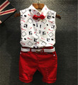 Kids Outfits Boys Shirt Sets 2016 Summer Sets White/Red Toddler Boy Shorts Suit Hot Sales Boys Clothes 2 Pieces