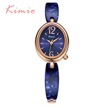 KIMIO New Arrival Personalized Oval Dial Watch For Ladies Blue Band Bracelet Quartz Women's Watches Elegant relogios feminino