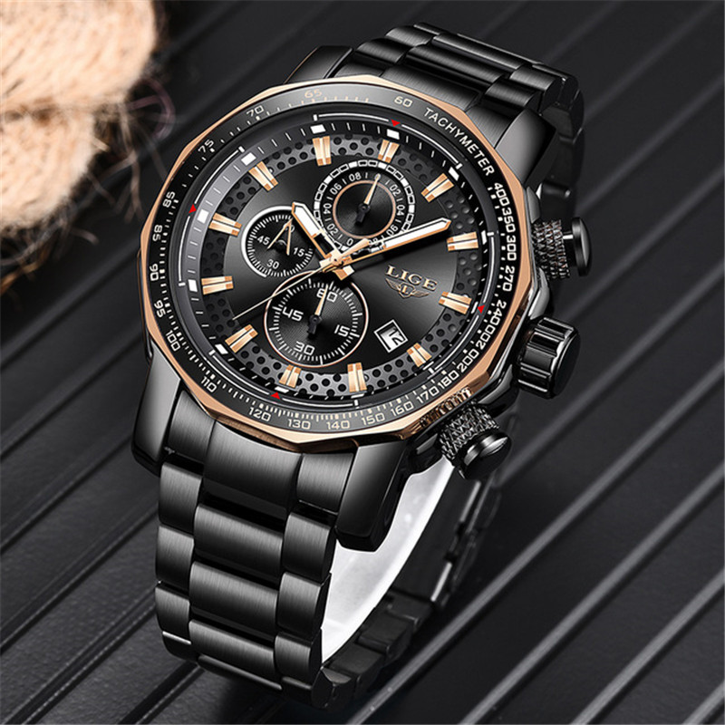 New LIGE Fashion Mens Watches Luxury Brand Chronograph Quartz Watch Men Sports Waterproof Army Military Watch Relogio MasculinoNew LIGE Fashion Mens Watches Luxury Brand Chronograph Quartz Watch Men Sports Waterproof Army Military Watch Relogio Masculino