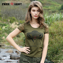 Brand Summer Women's Tshirts  Military Camouflage Clothing Printed Tees Lace Sleeve Novelty T-Shirt Tops Army Green Tees GS-8590
